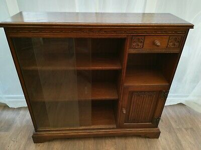 Old Charm Carved Oak Glazed Bookcase Cabinet Wood Bros Vintage Delivery