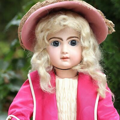 JUMEAU FRENCH DOLL DRESS SILK w HAT FOR ANTIQUE PORCELAIN BISQUE DOLL