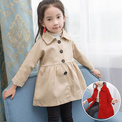 Child Baby Girl Winter Warm Overcoat Long Sleeves Solid Outwear Cute Trench Coat