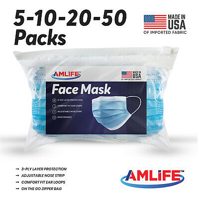 5/10/20/50 Disposable Face Mask Medical Surgical Dental 3-Ply Masks Made in USA
