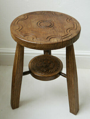 Handcarved Rustic Oak Country Farmhouse Stool by TERRY THOMAS Forest of Arden