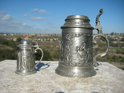 Vintage Traditional German Pewter Stein Mug Tankard Hunters Village Scene