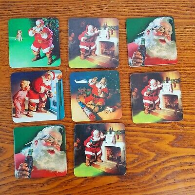 Coasters Coca Cola Santa Claus 8 Christmas Holidays Tree
