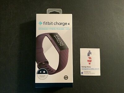 Fitbit Charge 4 Fitness Activity Tracker, Rosewood, GPS, Small & Large New