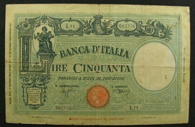 Italy 50 Lire Bank Note –  P#64 - Issued 31-3-1943 ~1698