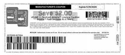 Carefree Breathe Liners $2 Off Coupon
