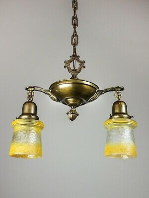 Antique Pan Fixture with Original Shades (2 Light)