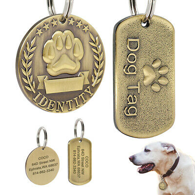 Custom Personalized Dog Tags Military/Round Brass Engraved ID Nameplate With Paw