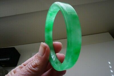 Chinese Child Genuine A Natural Ice Green Jadeite Jade Bangle Bracelet