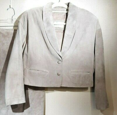 Vintage Lord & Taylor Suede Jacket Womens Sz 12 Tan Crop 90s Lined Shoulder Pads