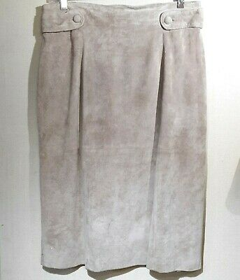 Vintage Lord & Taylor Suede Skirt Womens Sz 10 Tan 90s Lined Pleated Frt Buttons