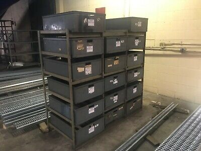 Heavy Duty Industrial Rack with Sliding Metal Bins Storage.
