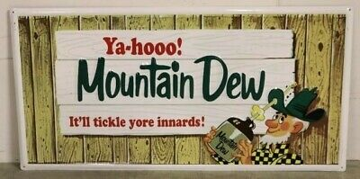 HUGE METAL Ya-hoo MOUNTAIN DEW It'll Tickle Yore Inards SIGN, EMBOSSED Hillbilly