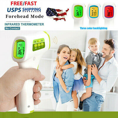 Non-Contact LCD Digital IR Infrared Forehead Thermometer °F/°C For Adult Baby US