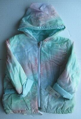 New Girl's Jacket in green with hood and pockets reversible style   4/5 year