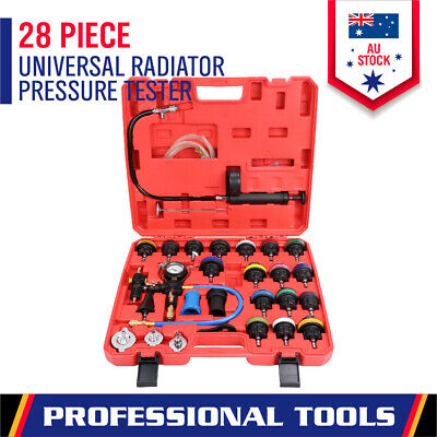 28-Piece Radiator Pressure Tester Kit Car Cooling System Leaking Refill Vacuum