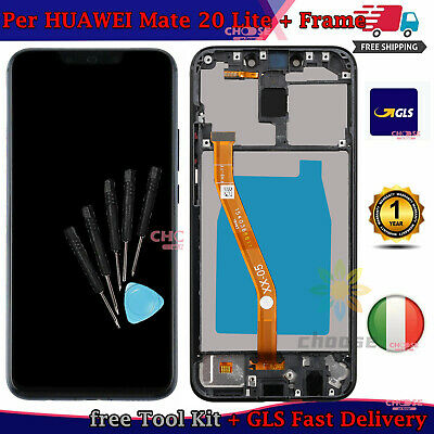 Display Lcd Touch Screen Per Huawei Mate 20 Lite Sne-Lx1 Nero Con Frame Gls