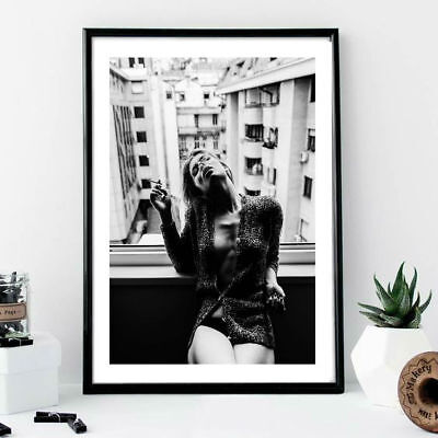Wall print art - woman smoking model poster window chanel vogue fashion