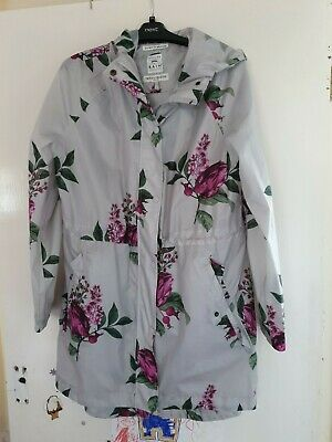 Joules Right As Rain - Size 14, Jacket, Floral, Grey