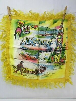 Vintage Alaska Souvenir Fringed Pillow Cover