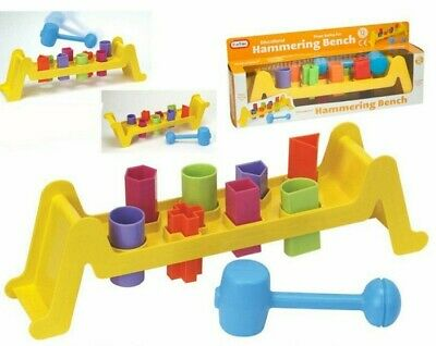 Baby Kids Early Learning Educational Toy Shape Sorting Hammering Bench Colourful