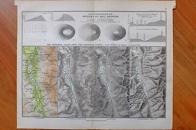 1889 Map Chart Systems Hill Drawing Thirlmere Valley Ordnance Survey