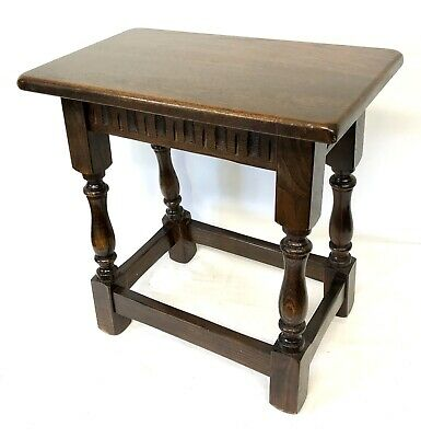 Antique Style Carved Oak Joint Stool / Occasional Table / Lamp Stand