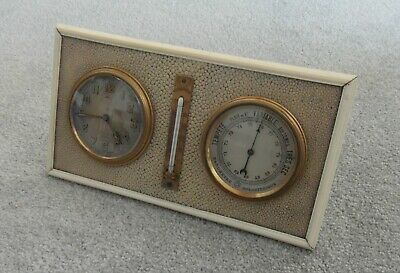 Quality French 1920's Art Deco Desk Clock Barometer Thermometer Paris
