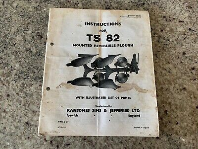 RANSOMES SIMS & JEFFERIES Plough TS82 Instruction Manual TS 82