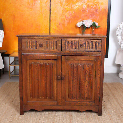 Antique Vintage Oak Cabinet Carved Cupboard Dresser Linen Fold