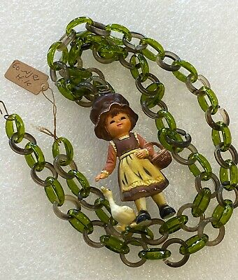 Vintage hand painted early plastic figurine & lucite chain necklace Hong Kong #1