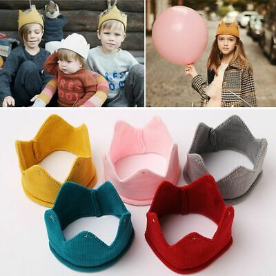 Toddler Baby Kids Headwear Crown Knit Headband Hat Boys Girls Photography Props