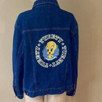 Tweety Bird Looney Tunes Warner Brothers Jean Jacket Size Women's Large