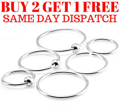 Sterling Silver Nose Ring Tragus Helix Bar Ring Hoop Cartilage Earring Piercing