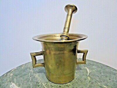 18th CENTURY ANTIQUE BRASS BRONZE MORTAR AND PESTLE APOTHECARY PHARMACY