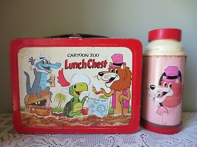 Vintage Rare 1963 Cartoon Zoo Metal Lunch Box W/Thermos By Universal