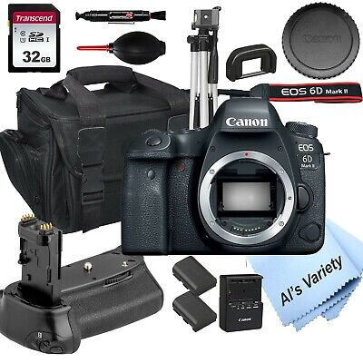 Canon EOS 6D Mark II Digital SLR Camera Body+ Power Grip+ 32GB+14PC Bundle