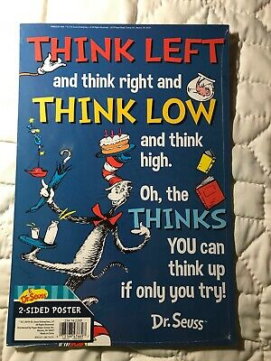 "Dr.Seuss Think Left & Think Right Cardboard Poster Double Sided  12.5"" X 8.5"""