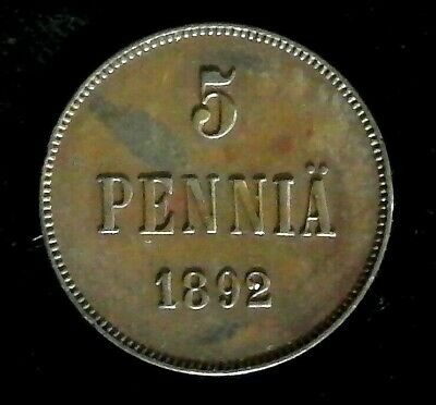 Finland 5 Pennia 1892 Russian Duchy - great condition, very nice