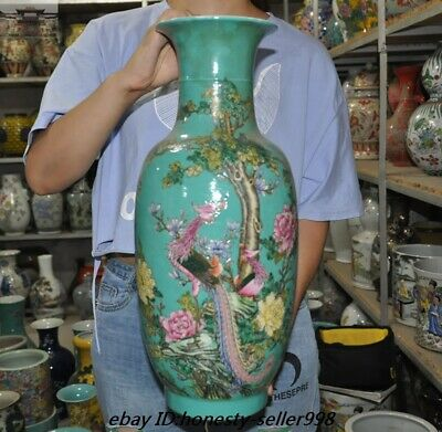 "18""  Old Chinese Dynasty wucai Porcelain Flower bird lucky Bottle Pot Vase Jar"