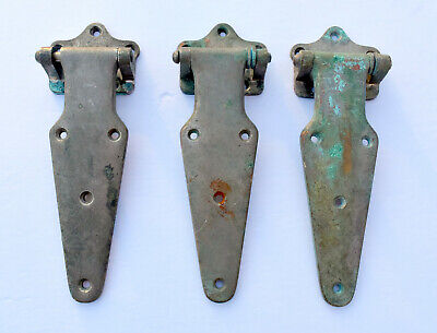 Vintage- Lot of 3 -Chromed Brass ICE BOX Door Hinges