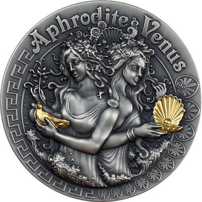 Aphrodite and Venus Goddesses 2 oz Antique Finish Silver Coin 1$ Niue 2020