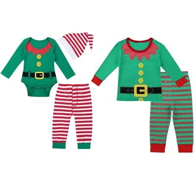 Infant Baby Kids Boys Girls Christmas Romper Long Sleeves Tops Outfit Pants Hat