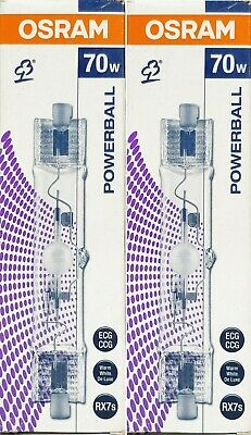 2 x Osram Powerball HCI-TS 70W Warm White Linear Metal Halide Lamps Globes RX7s