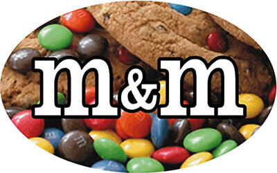 """M&M Bakery Flavor Store Food 2"""" Oval Labels Stickers NEW 500 ea per roll"""