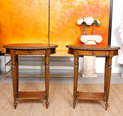 Fine Quality Pair Oak Side Tables Carved Console Lamp Tables