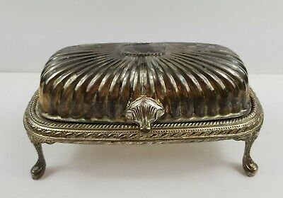 Vintage Silver Plated Butter Dish with Legs