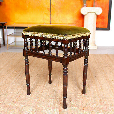 Antique Stool Victorian Mahogany Piano Stool Footstool Green Velvet