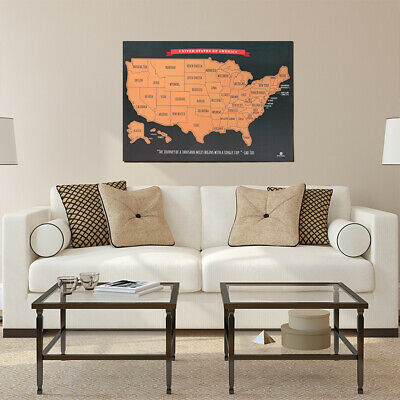 Large United States Scratch Off  Poster - Travel, Track ,Wall Décor Ship From US