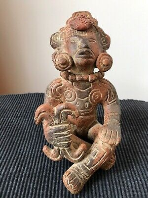 Vintage Mexican Mayan Pre-Columbian Reproduction Pottery Sculpture of God